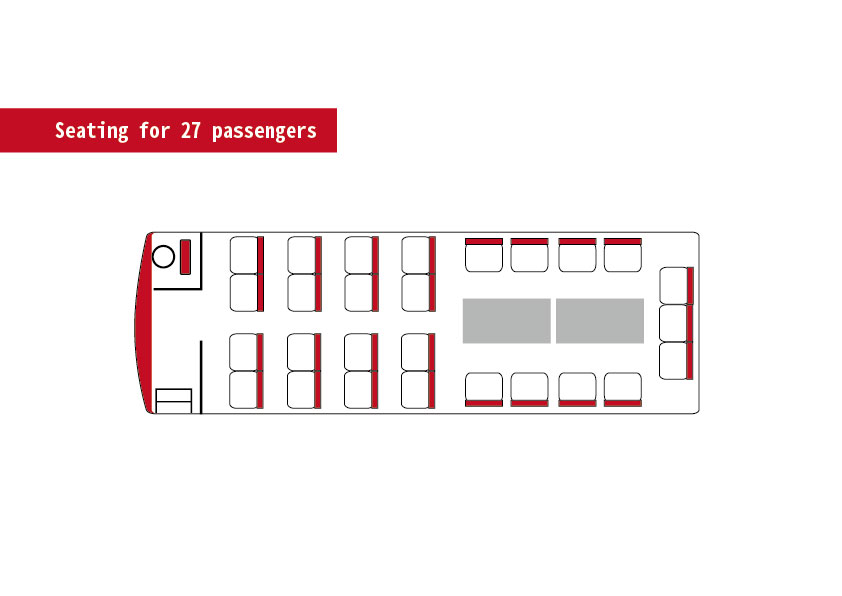 Seating for 27 passengers