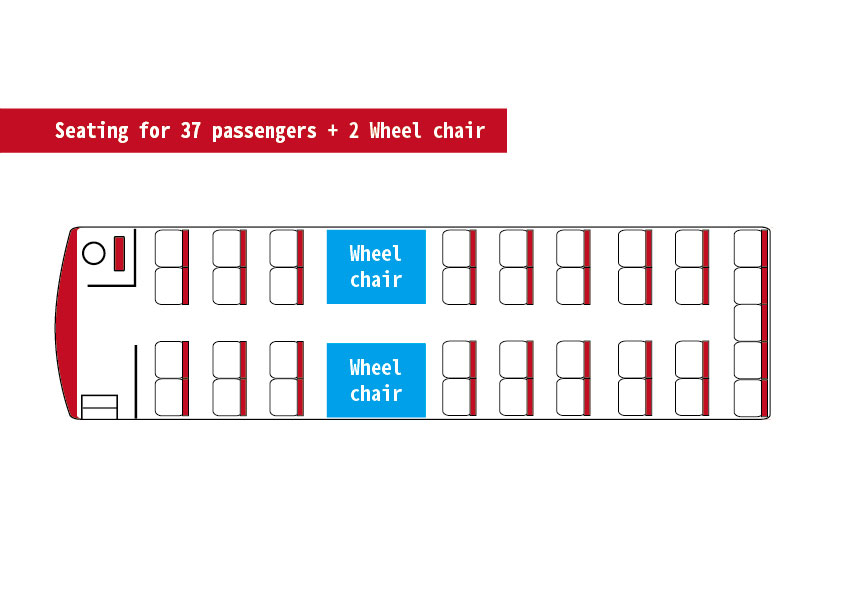 Seating for 37 passengers and 2 wheelchair